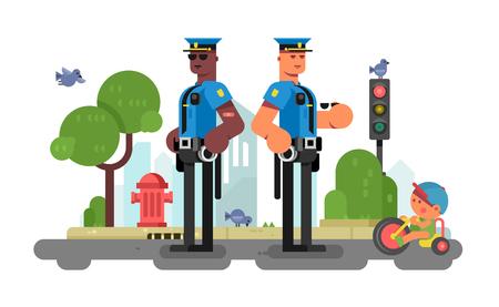 警察は、街の通りに役員をパトロールします。  イラスト・ベクター素材