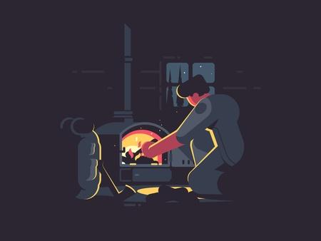 Traveler man warm by furnace Stock Vector - 85485195