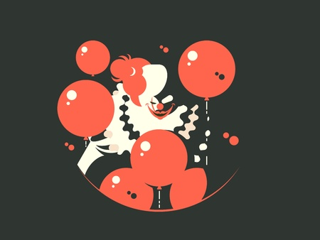 Evil clown character. Upset and depressed awful. Vector flat illustration Illustration