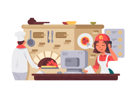 ピザ屋のキッチン。  イラスト・ベクター素材
