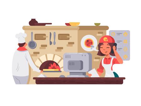 Cocina en pizzería. Foto de archivo - 85996310