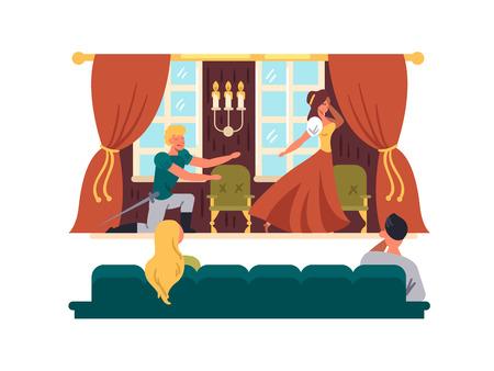 Przedstawienie teatralne na ilustracji wektorowych na scenie