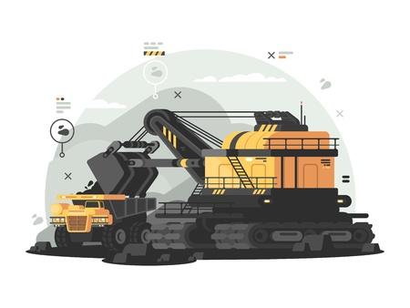 Zware machines voor mijnbouw. Brandstof- en energieindustrie. Vector illustratie