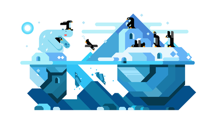 IJsbeer en noordpool leuke pinguïnen Stock Illustratie