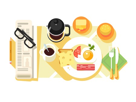 Breakfast fried eggs and coffee design flat