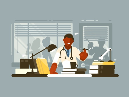 Chief doctor of hospital in office. Physician with a spinner. vector illustration