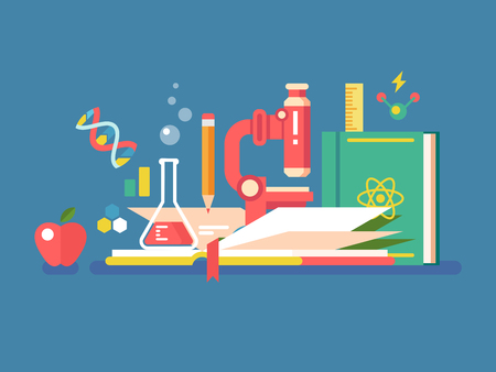 education concept: Science tools for education. Book study knowledge and microscope for research and learning, vector illustration