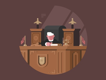 Wise judge in chair at workplace Illustration