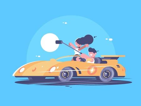 Make selfie from car Ilustracja