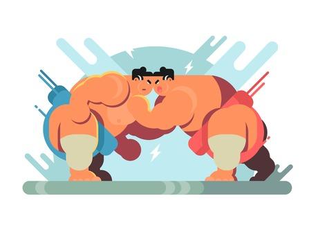 Vechten met sumo-atleten