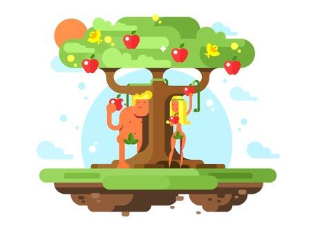 사과 나무 근처에있는 아담과 이브 일러스트