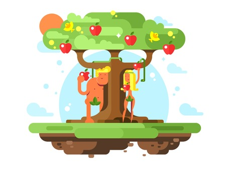 Adán y Eva cerca del manzano