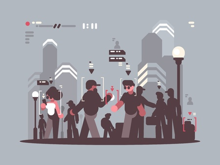 System tracking people in crowd Illustration
