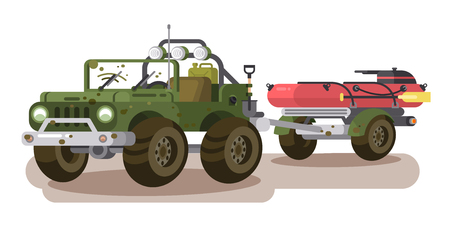 SUV car with trailer boat. Transportation inflatable boat for fishing . Vector illustration Çizim
