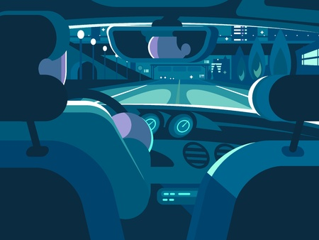 View from back seat of car. Driving on road in taxi. Vector illustration