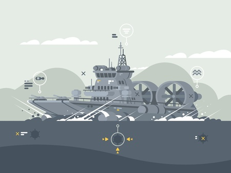 Militaire hovercraft pictogram. Stock Illustratie