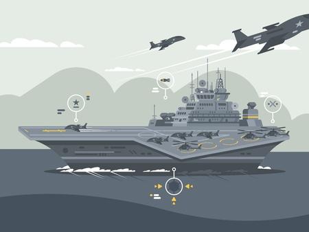 Military aircraft carrier Ilustração