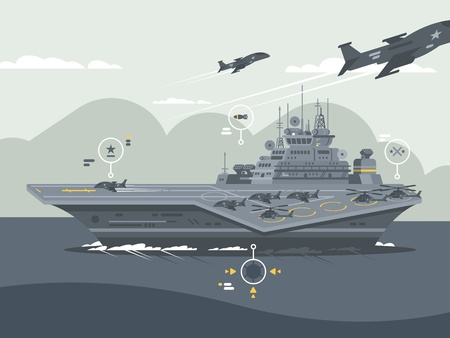 Military aircraft carrier Illustration