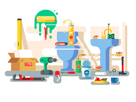 Repair of bathroom toilet bowl and washbasin