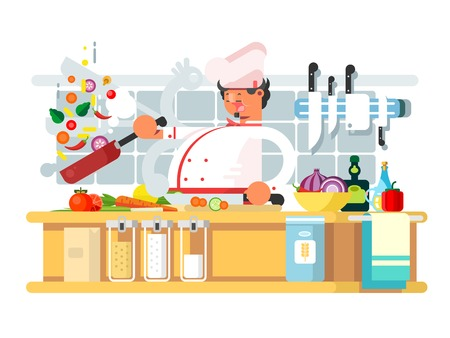 Professional chef prepares in kitchen. Food cooking and vegetable prepare. Character man in white hat. Vector illustration