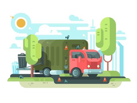 Müllwagen sammelt Müll im Park Standard-Bild - 88605457