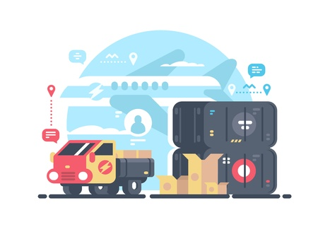 Transportation and logistics illustration.