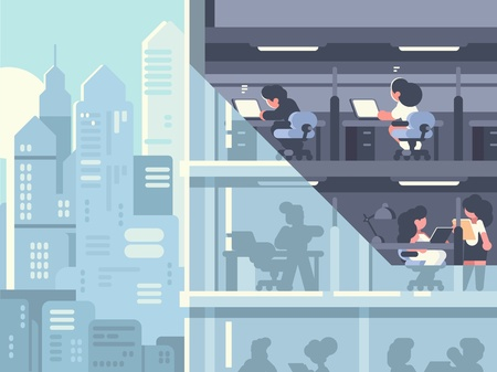 Work in office illustration.