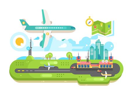 飛行機と空港の建物インフラ  イラスト・ベクター素材