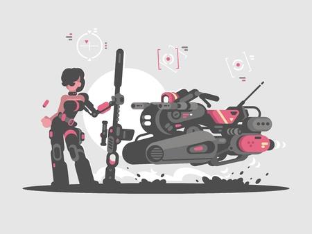 Militair meisje met sluipschuttergeweer Stock Illustratie