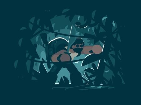 Traveler in jungle