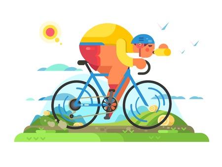 Fast cyclist sportsman on bike Stock Photo