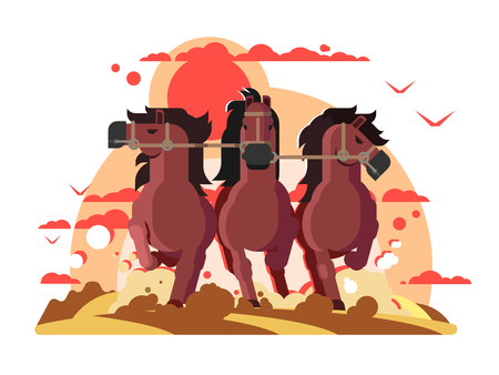 Three horses in harness running