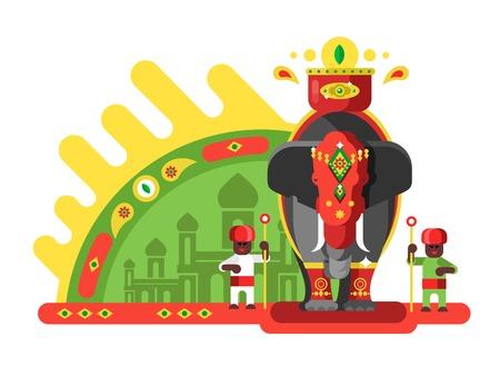 전통적으로 인도 코끼리 장식. 일러스트