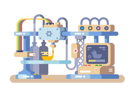 Printing device flat design. Ilustrace