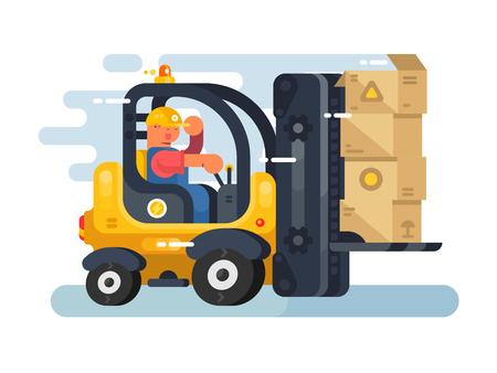 Storekeeper loader forklift flat design