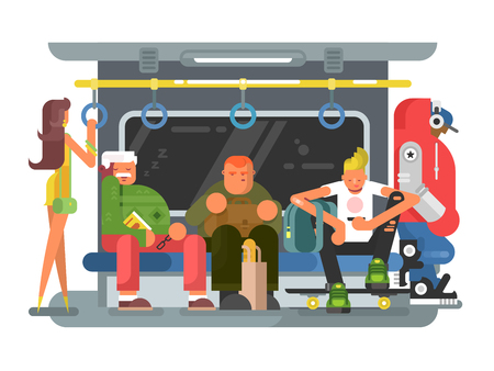 Metro met mensenman en vrouwen vlak ontwerp. Metro van de vervoerstrein en het openbaar vervoer van het stadsvervoer met mensen, vectorillustratie