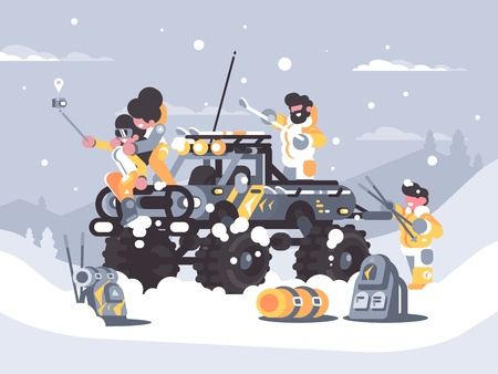 Friends rest in winter in mountains