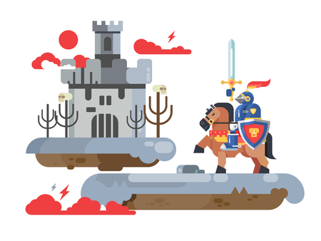 Knight with sword and old tower Иллюстрация