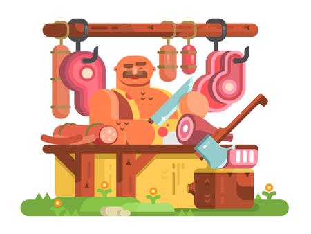 肉屋男カット肉とソーセージ  イラスト・ベクター素材