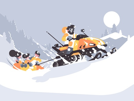 Man on snowmobile drives children