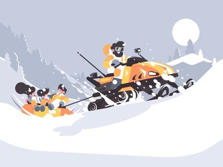 Man op sneeuwscooter rijdt kinderen