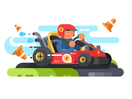 Man riding karting design flat. Drive speed sport and entertainment, fast race track. Vector illustration Illustration