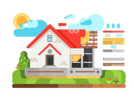 Construction of private house in section. Modern construction and architecture real property flat style, roof of house, vector illustration Illustration