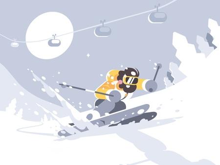 Narciarz na nartach w ośrodku narciarskim