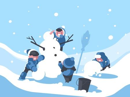 Kinderen bouwen sneeuwpop in de winter