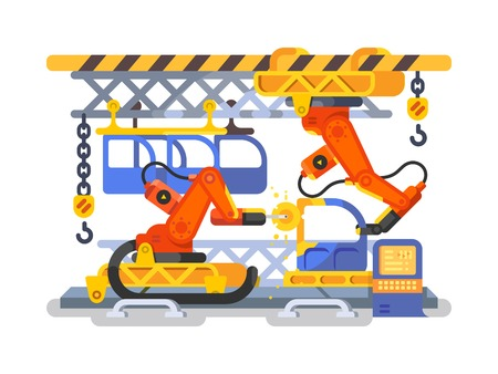 arms trade: Automatic production in factory using robots. Production line factory with automation equipment, vector illustration