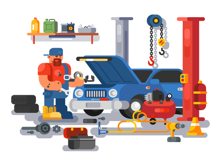 Mechanic worker repairs car in garage. Auto mechanic fixing engine in auto repair garage flat. Vector illustration