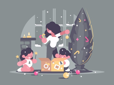 Mother with children daughter and son decorate Christmas tree. Vector illustration