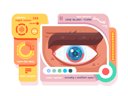 Technology in retina of eye flat. Future science and security digital electronic in human eye, vector illustration