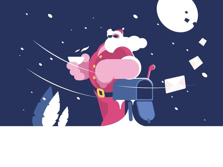 산타 클로스는 사서함 근처에 서있다.